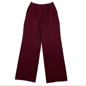 St. John Collection Wide Leg Maroon Knit Pants